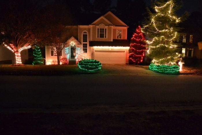 Colorful Christmas lights display