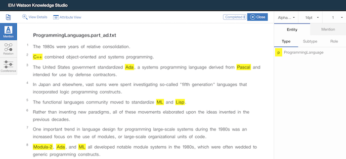 Using Watson Knowledge Studio to annotate a document, highlighting all instances of programming languages in the text.