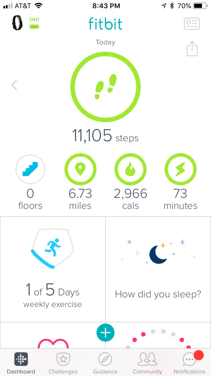 My Fitbit report for yesterday. 11,000 steps and 0 floors climbed.
